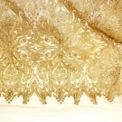 gold polyester cording tulle embroidered lace fabric for india saree